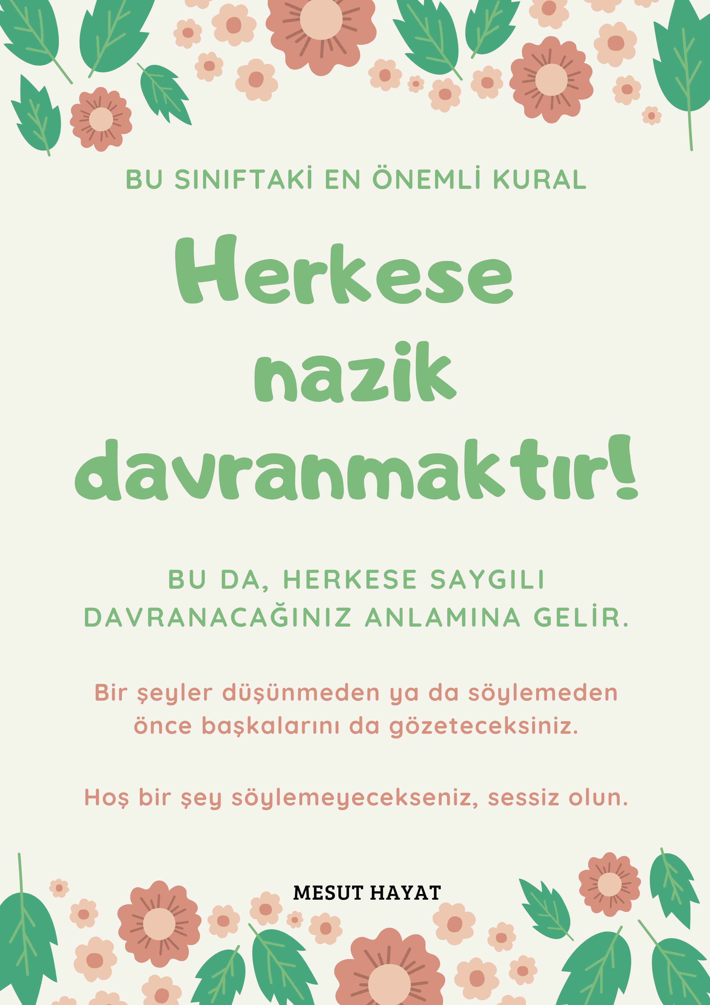 Şeftali Rengi ve Yeşil Çiçekli Sınıf Beklentisi Afiş.png
